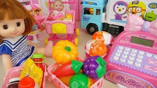 Baby doll mart food toys and surprise eggs delivery car baby doli play