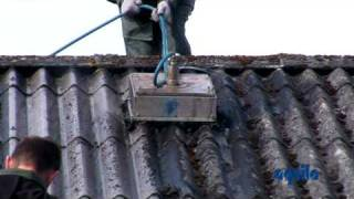 Aquila Triventek Cleaning Of Asbestos Roof With High Pressure Cleaner TD404