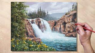 Acrylic Painting Waterfall Creek Landscape