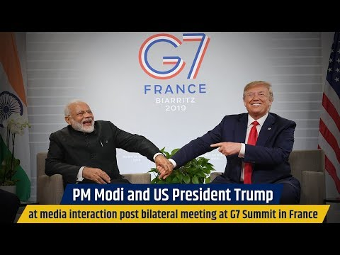 PM Modi and US President Trump at media interaction post bilateral meeting at G7 Summit in France