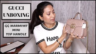 GUCCI GG MARMONT MINI TOP HANDLE BAG UNBOXING WITH MOD SHOTS 2019 || GUCCI HANDBAG UNBOXING 2019