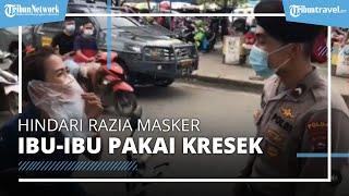 Detik-detik Seorang Ibu Pakai Masker Kresek Bening, Hindari Razia Masker oleh Polisi