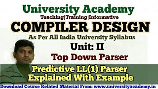 L20:Compiler Design Tutorial, Construction of Predictive LL(1) Parsing Table Example  in Hindi by UA