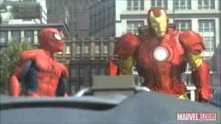 Spiderman hulk ironman vs giant robot