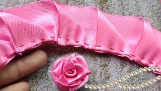 Amazing DIY Rose Satin Ribbon/ Satin Ribbon Flower Tutorial / Flower Rose