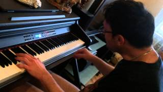Desmont plays on piano Tom Waits