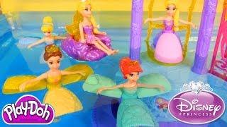 NEW Disney Princess Water Palace Playset Ariel Cinderella Belle Rapunzel Petal Float PLAY-DOH Fun!