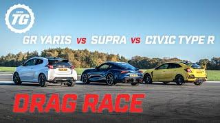 DRAG RACE: Toyota GR Yaris vs Toyota Supra vs Honda Civic Type R | Top Gear