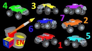 Monster trucks for children kids. Learn colors, learn to count. Educational cartoon