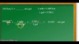 Unit conversion: kilometers per liter (km/L) to miles per gallon (mpg)