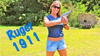 SHOOTING THE RUGER 1911!! GIRLS SHOOTING GUNS and BLOOPERS:)
