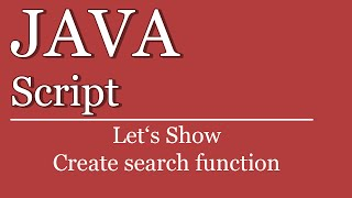 Let's Show #125 - JavaScript Tutorial - Create Search Function | jQuery | HTML