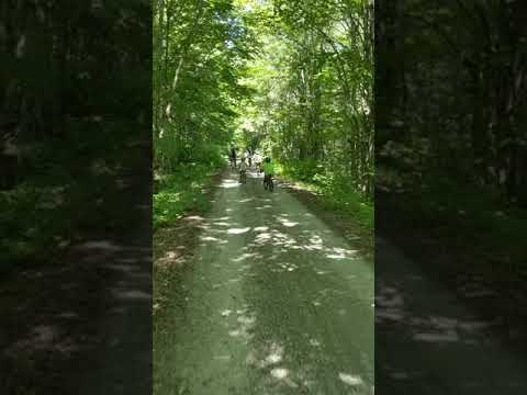 Group bike ride with friends on the Cross Vermont Trail, which is accessible from Kettle Pond State Park.