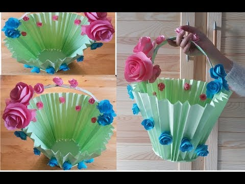 Papierkorb basteln. Ein  Körbchen aus Papier.  DIY Bastelidee für Kinder