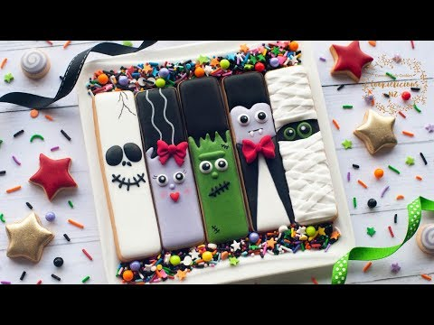 How to make HALLOWEEN COOKIE STICKS ~Frankestein Monster, Frankenstein Bride, Dracula, Mummy & Skull