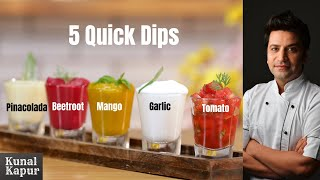 5 Quick Dips Recipe | Easy Veggie Dips | Kapur Sauce Recipes, Tomato Sauce Mango Dip Garlic Chutney