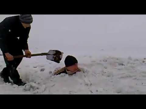 УХО! ДЕБИЛ зарытый в снегу!!!