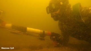 Такой хороший прозрак что рыбу не видно.Подводная охота в лежку.