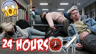 24 HOUR OVERNIGHT CHALLENGE IN AN AIRPORT!! (FLYING GONE WRONG!)
