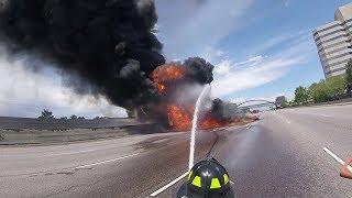 Massive Fuel Tanker Fire on I-25 Near Denver, Complete HD Fire Department Footage