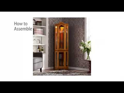 CM0695: Lighted Corner Curio Cabinet - Golden Oak Assembly Video Mp3