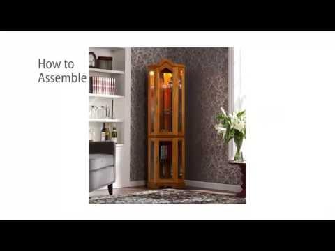 Video for Oak Lighted Corner Curio Cabinet