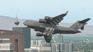 Worst Military Aircraft C-17 Take Off Almost Crash Into Buildings   X-Plane 11