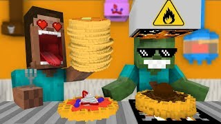 Monster School: WORK AT PANCAKE & WAFFLE PLACE! - Minecraft Animation