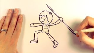 How to Draw a Cartoon Boy About to Throw a Javelin