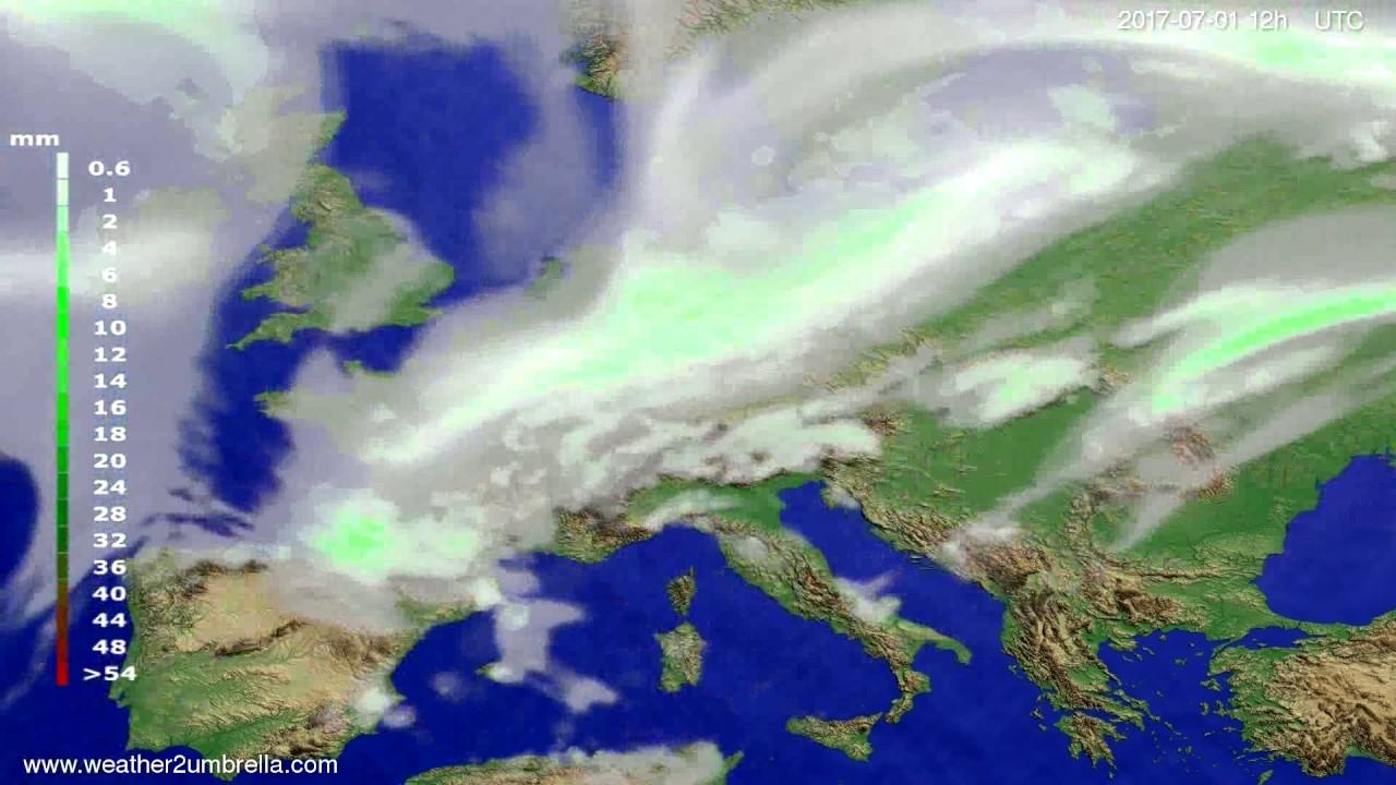 Precipitation forecast Europe 2017-06-29