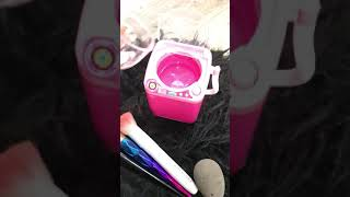 Cleaning my makeup brushes with cute miniature washing machine 💖 Does it really work??
