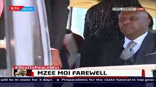 Moi's family walk out of parliament after viewing the body of former head of state