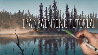 IPAD LANDSCAPE PAINTING TUTORIAL - Trees and Misty Lake