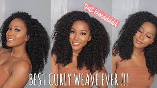 THE BEST CURLY HAIR EVER!!! ISee Mongolian Kinky Curly Weave, Low Maintenance + How I Style & Blend