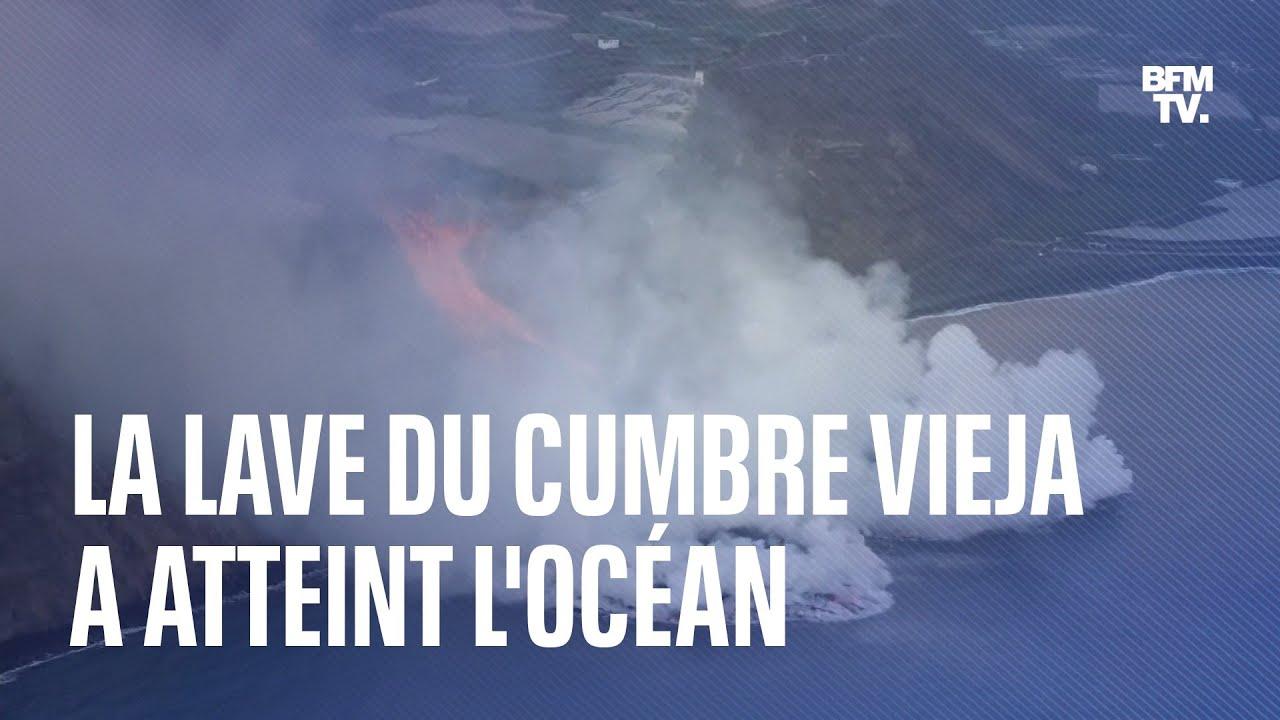 Les images de la lave du volcan Cumbre Vieja au contact de l'océan aux Canaries
