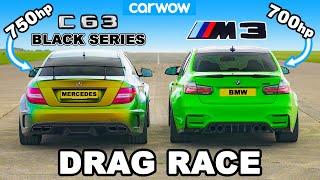 [carwow] 750hp AMG C63 Black Series v 700hp BMW M3: DRAG RACE 1/4, 1/2 and 1-MILE!