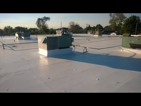 Commercial Roof Coatings Before and After of the Sunnyside Station Denver Post Office. http://EnergyStarExteriors.com Since 1955, Gaco Western has manufactured exceptional waterproofing and insulating products. Gaco Wesern is also a recognized leader in innovative silicone roofing systems. This family-owned company was built on three fundamental principles: superior products, sold by experts at competitive prices. No need to re-roof, just re-cover!No matter if your roof is slanted or flat, large or small, Gaco has got you covered. GacoFlex Silicone System is a water resistant and insulation material used to help protect your roof even through ponding water. It also comes in Solvent Free, using a monolithic system to create a seamless surface. Product Features: Renews your roof, makes any old roof look new.Extends the life of the roof. Creates more time between roof replacements.Efficient friendly, reducing energy costs and increases the R Value.Works on all types of roof shapes and sizes.Can be used as a re-coat.Guaranteed performance.Less roof material waste in landfills, due to the extended life of the roof.Provides UV protection with a highly reflective surface. Varied thickness allows you to create slopes for optimal drainage where needed.