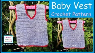 """Basic crocheted Baby Vest  """"Lila"""" by Maricita Colours in English"""