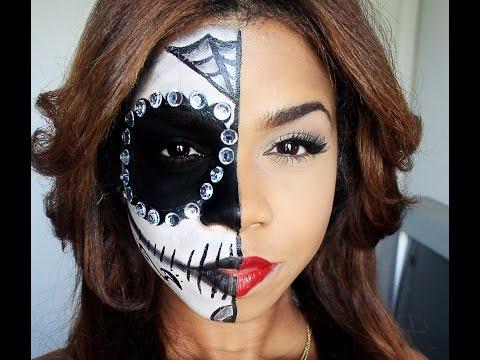Fullhalf Sugar Skull Makeup For Halloween Or Dia De Los Muertos