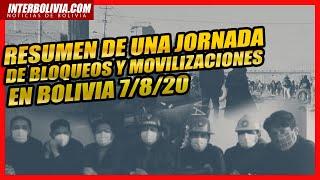 🔴 RESUMEN DE UNA JORNADA MARCADA POR LOS BLOQUEOS Y MOVILIZACIONES EN BOLIVIA 07/08/2020 👈