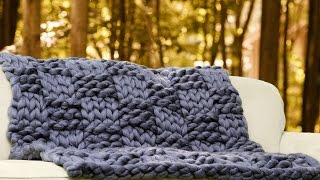 HANDd knit Basket weave pattern with super chunky vegan yarn with BeCozi