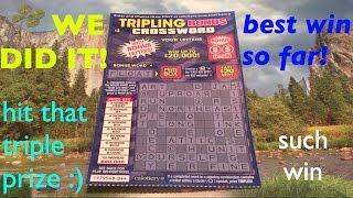 FINALLY GOOD WIN ON TRIPLING BONUS CROSSWORD!! $3 California Lottery Scratcher