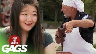 Gun Falls in Chocolate Cake Batter Prank - Just For Laughs Gags