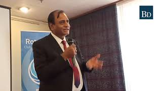 Narendra Raval gives a talk during the Rotary Club meeting in Nairobi