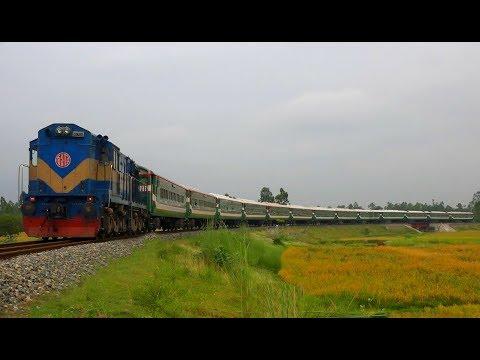 Intercity Drutojan Express (Panchagarh-Dhaka) passing through a massive Rail Curve near Kanchan Jn