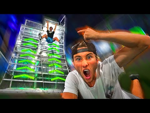 First to beat IMPOSSIBLE NINJA WARRIOR COURSE wins! (Trampoline park)