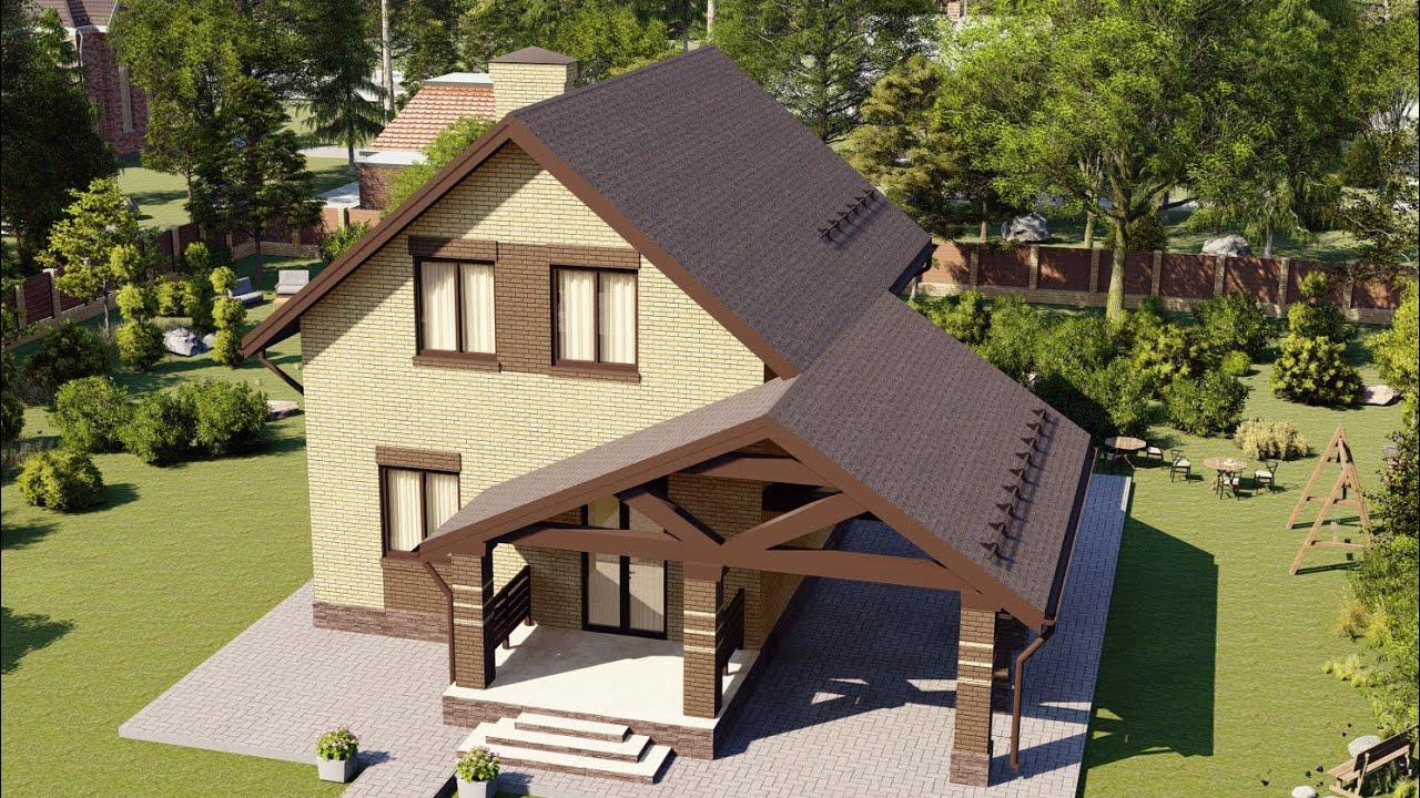 Проект дома из газобетона с мансардой 100м2