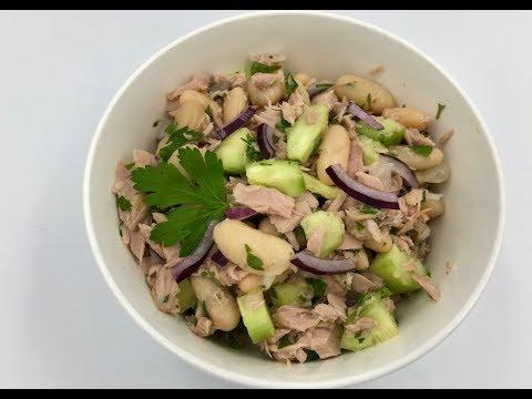 Салат с тунцом и фасолью   Рецепт салата с белой фасолью, тунцом и огурцом