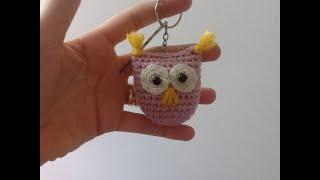 كروشيه ميدالية بومة بطريقة سهلة وبسيطة  Crochet Owl Key Chain Tutorial