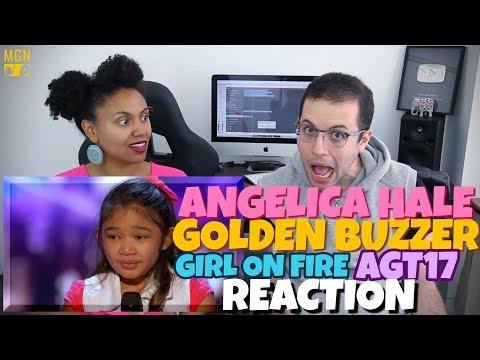Angelica Hale - Girl On Fire | Golden Buzzer | America's Got Talent 2017 | REACTION
